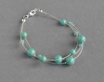 Mint Green Floating Pearl Bracelet - Pale Teal Multistrand Bracelets - Aqua Bridesmaid Jewellery - Turquoise Bridal Party Gifts - Wedding
