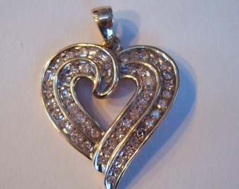 10K Yellow Gold Heart Pendant  Cz's Valentines Day