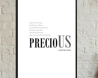 Precious Poster Depeche Mode. Printing decor. Typographical printing. Scandinavian style. Gift Idea. Nordic style print. Musical quotation.
