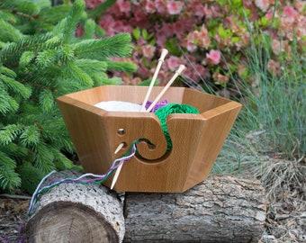 Handmade Sycamore Yarn Bowl for knitting or crochet