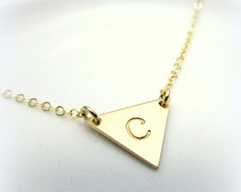 Triangle Initial Necklace | Gold Letter Necklace | Gold Initial Triangle Necklace | Triangle Charm | 14K Gold Filled | Gift Packaged