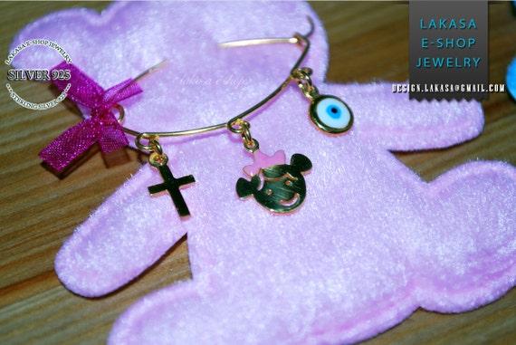 Enamel Baby Brooch Sterling Silver Gold plated Handmade Jewelry Cross Eye Religious Christian Baptism Happy Shower Day Newborn Girl Princess