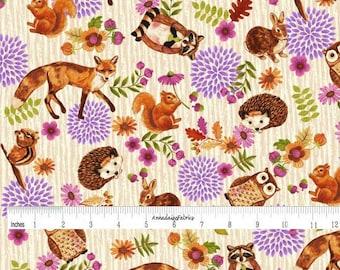 Woodland Animal Quilt Fabric, Enchanted Forest Studio E 3832 44 Cream, Fox, Bunny, Hedgehog, Raccoon, Squirrel, Owl, Chipmunk, Cotton