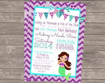 Mermaid Invitation | Mermaid Birthday Invitation | Teal Purple Lavender Mermaid Invitation | Under The Sea Invitation Mermaid Birthday Party