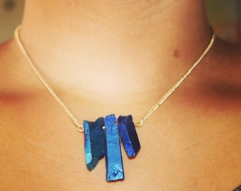 Blue iris quartz crystal necklace