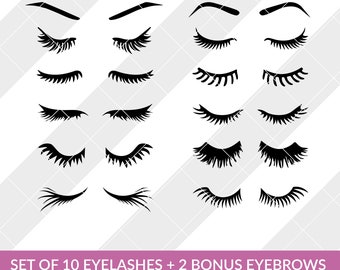 Set of 10 Eyelashes svg, eps, dxf, studio3, png, jpg, clipart Silhouette Cameo Cricut Design Space Brother Scan Cut Files Makeup Eye Lash