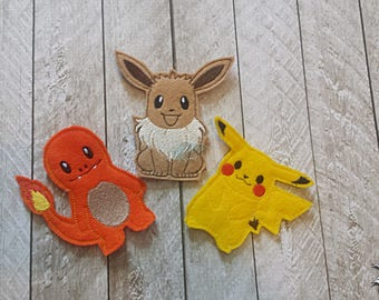 Pocket Monster Finger Puppets - Set of Three - Fire, Electrical, Eve, Fox, Mouse, Lizard, Pika, Char, Poke, Adorable, Puppet