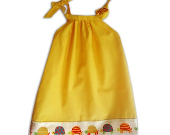 Girl's Yellow Tortoise Dress / Turquoise Owl dress / Children's Pillowcase Dress / Kids / Baby Clothes