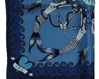 Silk Pocket Square / Mermaids Silk Pocket Square / Blue Silk Pocket Square / Nautical Style Pocket Square / Nautical Wedding