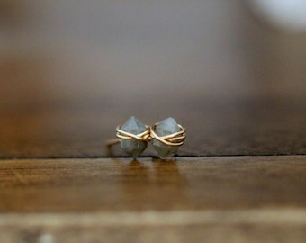 Labradorite Studs ,  Petite Gemstone Post Earrings in Gold , Rose Gold , Sterling Silver , Gray Blue Geometric Natural Stone - Pike