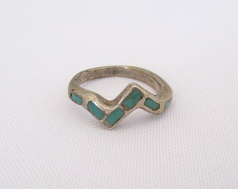 Vintage Native American Sterling Silver Inlay Turquoise Ring Size 6