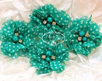 "NEW: 4 pcs Aubrey JADE GREEN / Aquamarine white polka dots - 2"" Soft Chiffon pearls rhinestones Mesh Layered Small Fabric Flowers."