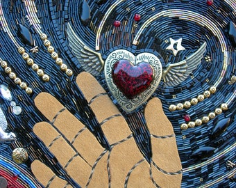 "Beaded Mosaic Art - ""Thief of Hearts"" - Rustic Shadowbox Frame"