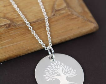Grandma Gift - Family Tree Necklace - Grandmother Necklace - Grandmother Wedding Gift - Custom Engraved Jewelry 925 Sterling Silver Jewelry