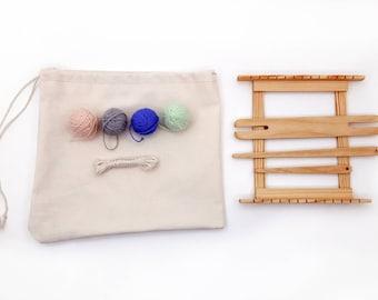 6x6' Weaving loom kit for beginners, Gift set weaving loom, Back to school creative gift, 6x6 inch beginners set for weaving learning