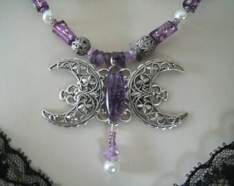 Triple Luna diosa collar, joyería Wicca pagana joyería wicca joyería diosa joyería bruja brujería handfasting metafísico