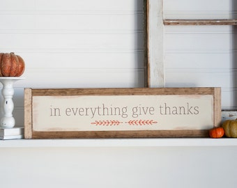 In everything give thanks Rustic framed wooden fall sign, autumn sign, thanksgiving sign