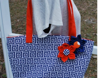 University of Florida Gator Blue Orange Geometic Flower Tote Bag Purse With Monogramming