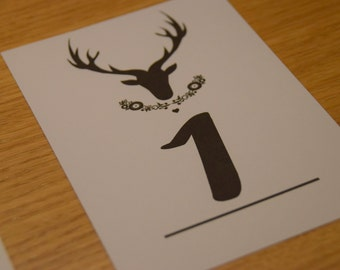 Stag Table Numbers. A6 Pack of 8.