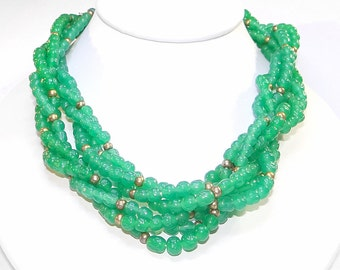 Multi-strand Green Necklace - Vintage Torsade Style with Dimpled Green Glass Beads