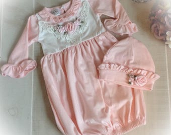 Newborn Girl Bring Home Outfit, Pink Layette Gown Cap, Newborn Gown, Coming Home Outfit