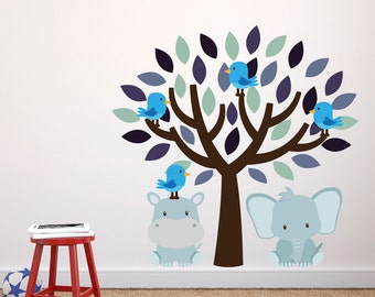 Tree With Elephant and Hippo Wall Stickers, Jungle Wall Decals, Animal Wall Art, Wall Transfer - Full Colour Wall Stickers - FP035