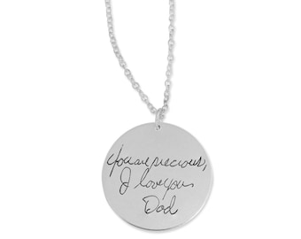 """Personalized handwriting necklace - Signature Pendant - Handwriting Pendant - 1"""" round disk silver or gold filled"""