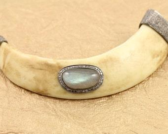 Pave Diamond Pendant, Pave Horn Pendant, Pave Labradorite Horn, Pave Art Deco, Diamond Labradotite Horn, Diamond Connector. (DCH/PDT/455)