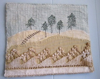 Art Quilt/Quilt/Textile Art/Art/Hand Stitched/Embroidery/Vinage Textiles/Recycled/Winter/Snow/Fabric Collage/Fabric/Fiber/Stitching/Textiles