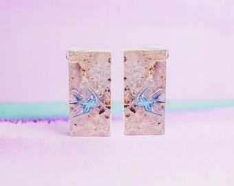 Swallow Earrings | bird earrings - bird jewelry - bird jewellery - bird studs - earrings - dangle earrings - gift for her - swallow bird
