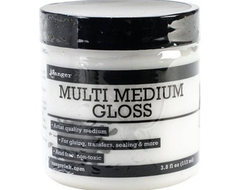 Ranger Multi Medium Gloss 3.8 fl oz. Artist Quality Gel Medium - Use to transfer images, finish coat paper and canvas or as an adhesive.