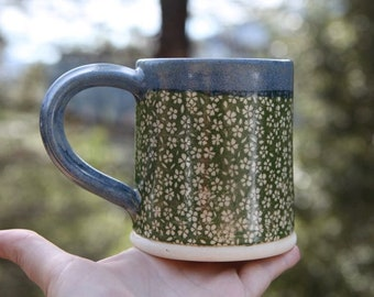 Stoneware Mug with Floral Pattern with Blue Glaze