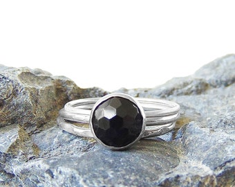 Onyx Stacking Ring in Sterling Silver - Stackers - Set of Three - US Size 8 - Handmade