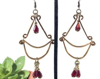 Copper Earrings / Red Earrings / Spanish Earrings / Mexican Earrings / Wire Earrings