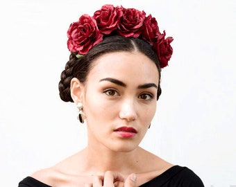 July 4th Red Rose Flower Crown, Floral Crown, Frida, Mexican Headband, Red Rose Floral Headpiece, Mexican Flower Crown, Flower Crown, Fiesta