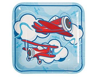 Sky high Plane Dinnert plates / Plane Theme / Up and away Theme /Boy's Party Theme
