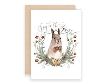 Joy to the Squirrel Christmas Card | Watercolor Squirrel Christmas Card | Joy to the World Christmas Card | Christmas Puns Notecard