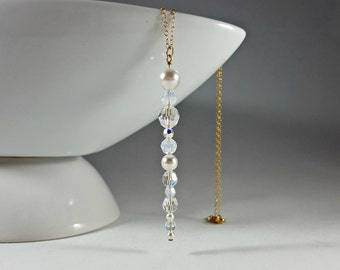 Icicle Crystal and Pearl Swarovski Long Pendant