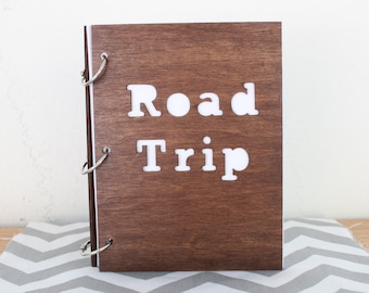 6X8 Wood road trip travel journal/ mini album