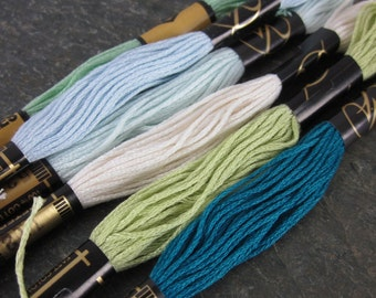 6 Skeins Mixed Blue Green All Cotton Embroidery Thread Floss Sea Mix