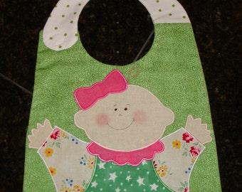 Handmade Baby Bib - Baby Girl Bib - Baby Shower Gift for Baby Girl