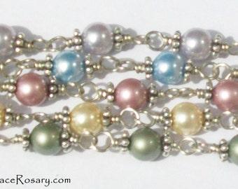 Bridesmaid Jewelry Rosary Bracelets, Wedding Gifts, Swarovski Crystal Pearls in many colors, Pastel, Rainbow, Custom, Unbreakable, Catholic