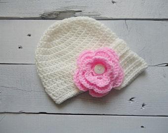 Crochet Baby Visor Hat, Girls Crochet Hat, Tangerine