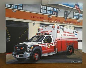"Original Painting of ""Medic 10"" Baltimore City Fire Department"