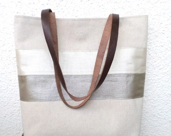 Linen tote bag, Gold tote, Large tote, Organic linen bag, Shoulder bag, Summer bag, Beach bag, Carry all bag,  real leather handles