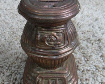 Metal Copper Colored Pot Belly Stove Coin Bank