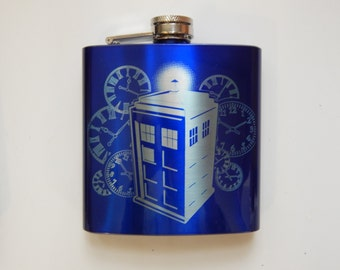 Engraved Tardis Time Traveler Flask-Blue and Silver
