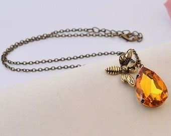 Bronze Bee With Gem - Charm Necklace