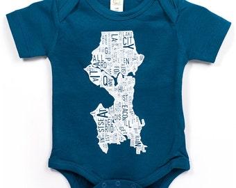 Seattle Neighborhood Map Baby Onepiece Bodysuit, Original Artist of Type City Map Designs