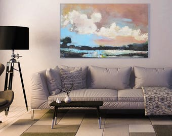 ABSTRACT LANDSCAPE 48x30 XL Canavas Art Abstract Painting Blue Abstract Seascape Contemporary Canvas Painting Gray Abstract Minimalist Art